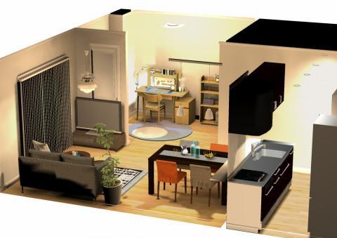 こんな感じでお部屋を3Dでご提案。